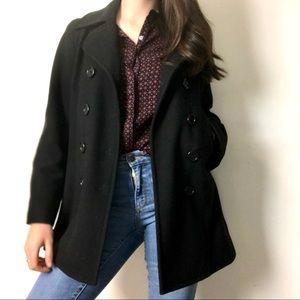 J. Crew | Black Wool Blend Peacoat